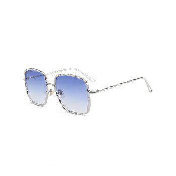 Metal Wave Rectangle Frame Sunglasses