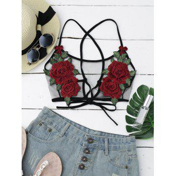 Flower Applique Sheer Mesh Crop Top