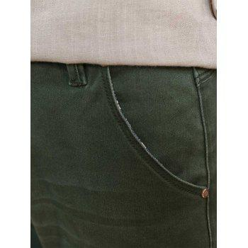 Zipper Fly Straight Leg Stretchy Distressed Jeans - BLACKISH GREEN 36