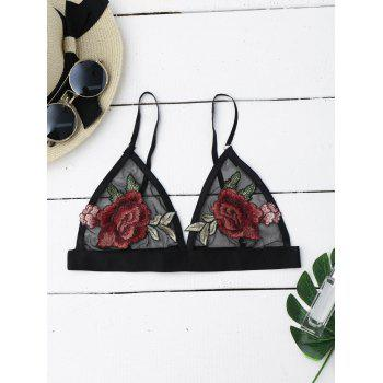 Flower Applique Sheer Mesh Bra Top