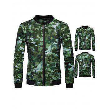 Lion Head Print Camo Zip Jacket