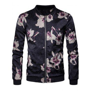 Zip Up Flower Print Bomber Jacket