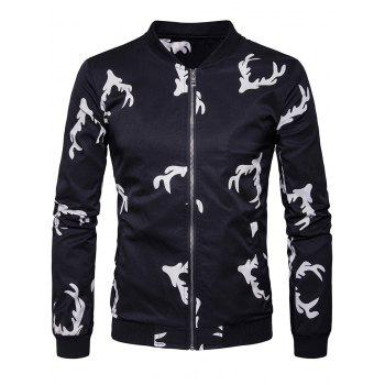 Zip Up Elk Head Print Bomber Jacket