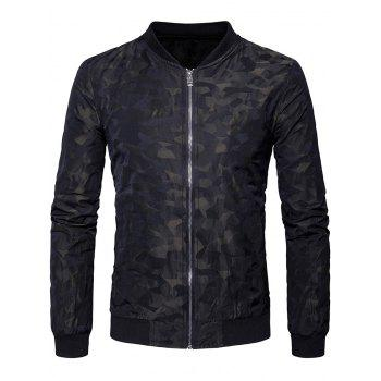 Zipper Up Camouflage Bomber Jacket