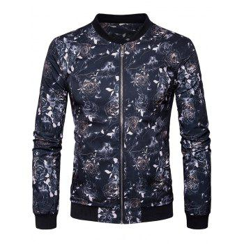Rose Printed Zip Up Bomber Jacket