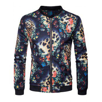 Floral Printed Zipper Pocket Bomber Jacket