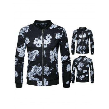 Stand Collar Flower Print Jacket