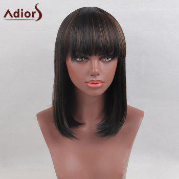Adiors Medium Full Bang Colormix Silky Straight Bob Synthetic Wig
