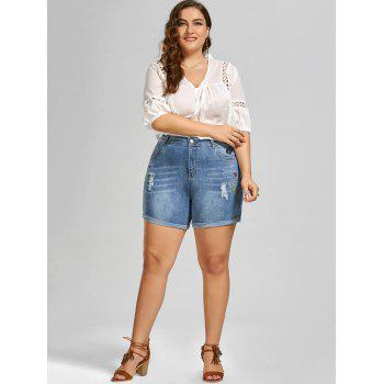 2018 embroidered mini denim plus size shorts denim blue xl in plus