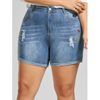 Embroidered Mini Denim Plus Size Shorts