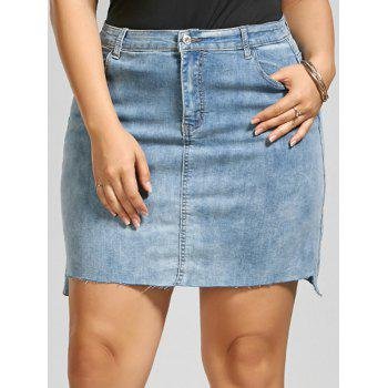 Fitted Mini Denim Plus Size Skirt