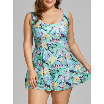 Padded Butterfly Floral Print Plus Size Swim Dress