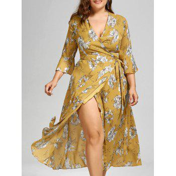 Floral Maxi Plus Size Wrap Dress