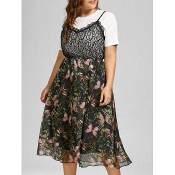 Butterfly Print Lace Trim Plus Size Dress with Top
