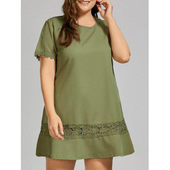 Plus Size Lace Crochet Trim T-shirt Dress