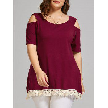Plus Size Long Open Shoulder T-shirt with Tassel Trim