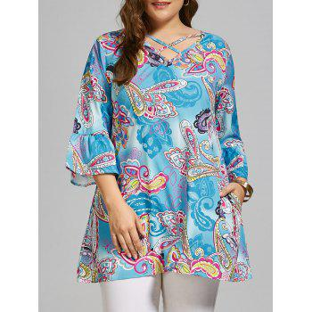 Plus Size Paisley Cutout Long T-shirt with Sleeves