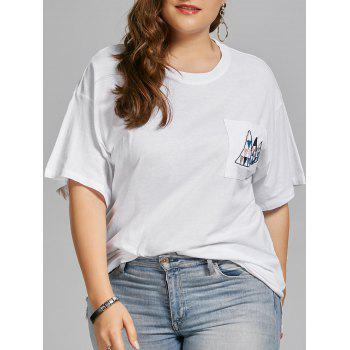 Plus Size Triangle Embroidered Simple Pocket T-shirt