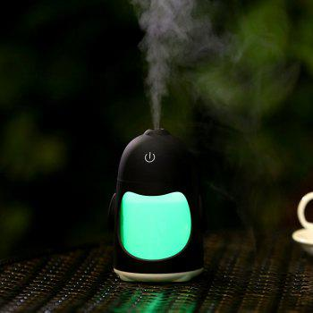 Colorful Night Light USB Chargeable Penguin Mini Humidifier - BLACK