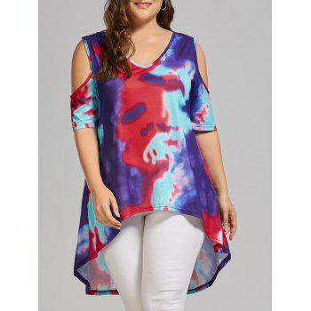 Plus Size Tie Dye Cold Shoulder High Low T-shirt