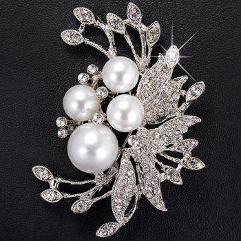 Flower Shape Faux Pearl Rhinestone Inlaid Brooch