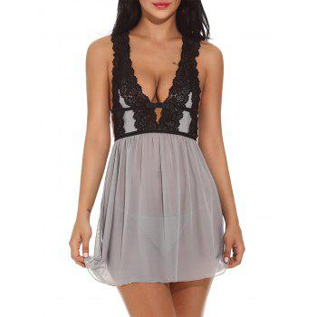 Low Cut Lace See Through Babydolls Sleepwear
