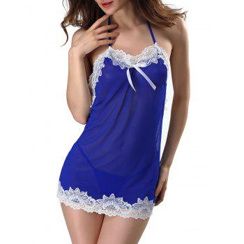 Mesh Halter Babydoll With Lace Trim