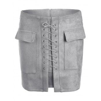 Lace Up Pocket Suede Mini Skirt