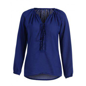 Self Tie Lace Up Long Sleeve Blouse