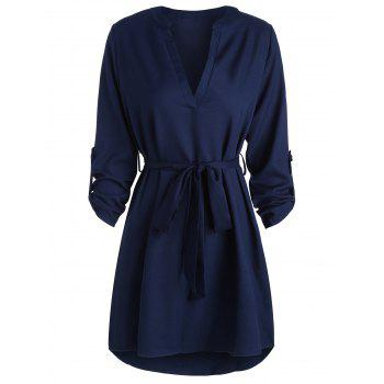 Long Sleeve V Neck High Low Dress
