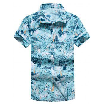 Short Sleeve Coconut Palm Print Hawaiian Shirt