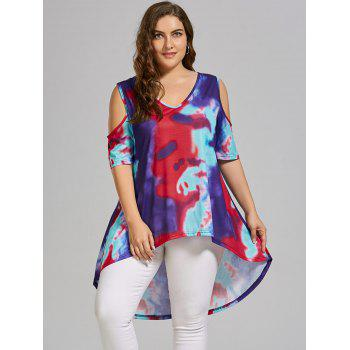 Plus Size Tie Dye Cold Shoulder High Low T-shirt - multicolorCOLOR XL