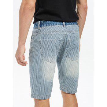Vertical Stripes Zip Fly Denim Shorts - Bleu clair 35