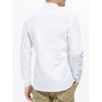 Long Sleeve Button Down Pocket Shirt - WHITE 2XL