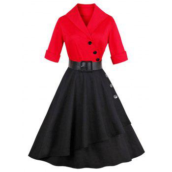 Vintage Color Block Buttoned Flare Dress