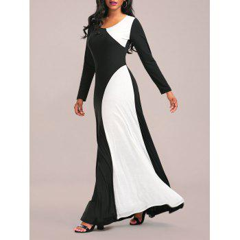 Color Block Maxi Formal Dress with Long Sleeve