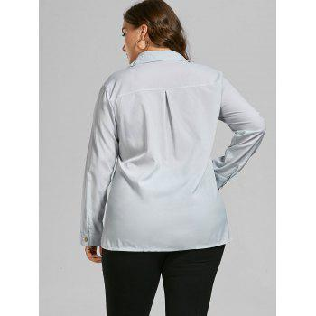 Button Up Long Sleeve Plus Size Shirt - LIGHT GREY 3XL