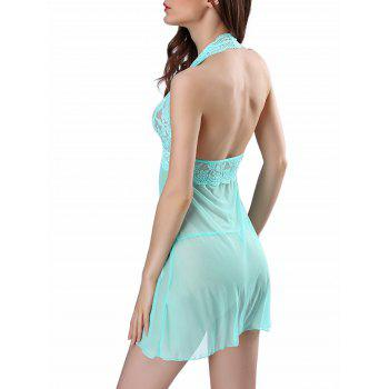 Halter See-through Mesh Babydoll - LIGHT GREEN M
