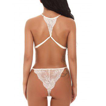 See Through Mesh Lace Backless Teddy - WHITE M