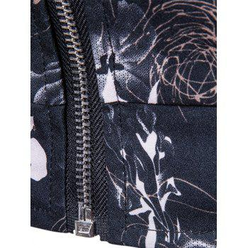 Rose Printed Zip Up Bomber Jacket - BLACK M
