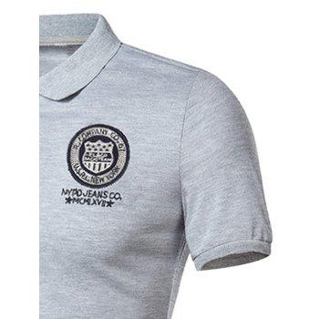 Graphic Embroidered and Applique Polo T-shirt - GRAY L