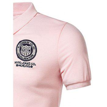 Graphic Embroidered and Applique Polo T-shirt - PINK 4XL