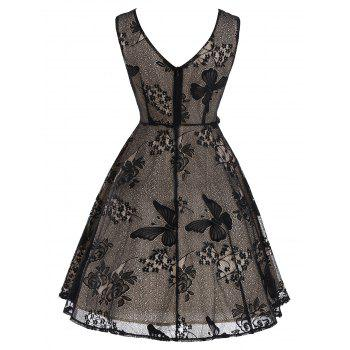 Vintage Floral Butterfly Pattern A Line Dress - BLACK L