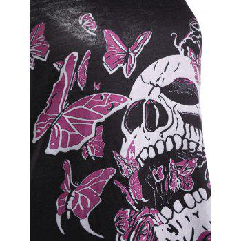 Flower Butterfly Skull Racerback Tank Tunic Dress - BLACK 2XL