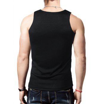 Distressed Graphic Print Round Neck Tank Top - BLACK L