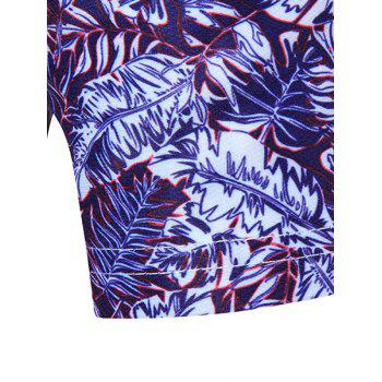 All Over Leaves Print Hawaiian Shirt - PURPLE XL