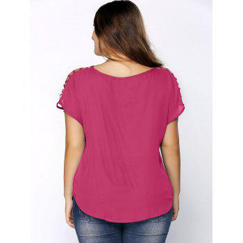 Plus Size Ripped Sleeve V Neck T-Shirt - TUTTI FRUTTI 4XL