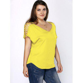 Plus Size Ripped Sleeve V Neck T-Shirt - LEMON YELLOW 3XL
