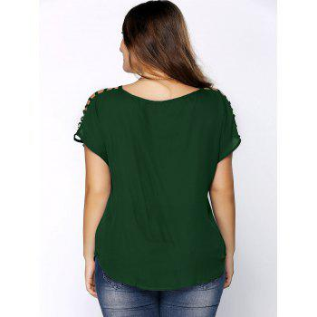 Plus Size Ripped Sleeve V Neck T-Shirt - BLACKISH GREEN XL