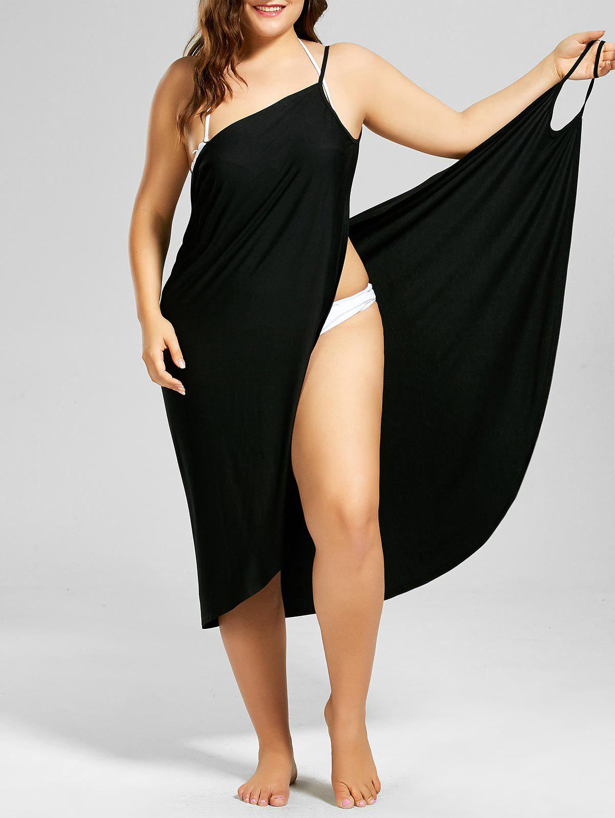 Plus Size Beach Cover-up Wrap Dress - BLACK XL